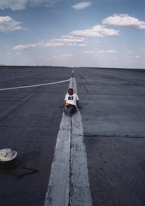 Ken Harman on Buran Space Shuttle's runway in Baikonour